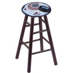 "Holland Bar Stool NHL 18"" Bar Stool with Cushion NHL Team: Colorado Avalanche, Finish: Dark Cherry"