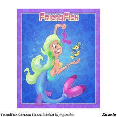 FriendFish Cartoon Fleece Blanket