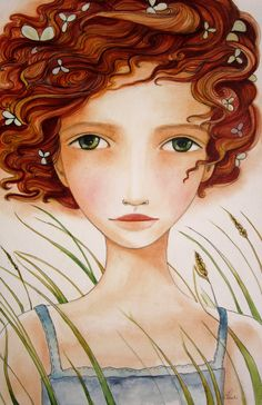 Artwork by Montréal, Québec artist Claudia Tremblay. View it online or try a fine art print in your home with TurningArt. Portrait Male, Claudia Tremblay, Illustration Art, Illustrations, Girls With Red Hair, Painting People, Arte Pop, Whimsical Art, Face Art