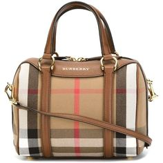 Burberry Haymarket Print Bowling Bag ($1,093) ❤ liked on Polyvore featuring bags, handbags, real leather handbags, bowler handbag, 100 leather handbags, bowling bags and genuine leather handbags