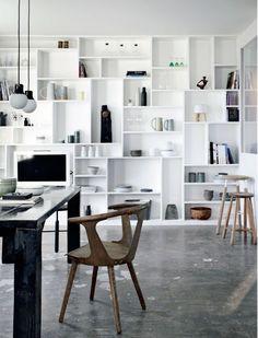 full wall bookcase | organisation
