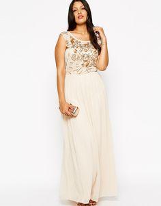 79653940d831c Lovedrobe Mesh Insert Embellished Maxi Dress at asos.com