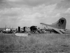 USAAF burned out bomber B-17, number 297247, after a German raid against the US base in Poltava, Ukraine, on 6/22/1944. In Feb 1944, the Soviet airfield was provided to the USAAF as a heavy bomber staging field, used by the Eighth and Fifteenth Air Forces for shuttle bombing missions. The concept of operations was for American aircraft to use England (8th Air Force), Italy, and the Ukrainian base as vertices of a triangular bombing campaign against Axis targets in Eastern Europe and the…