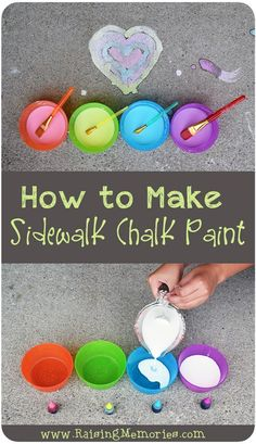 A very simple recipe and instructions for how to make your own D.I.Y. Sidewalk Chalk Paint with ingredients you have at home! (scheduled via http://www.tailwindapp.com?utm_source=pinterest&utm_medium=twpin&utm_content=post90251841&utm_campaign=scheduler_attribution)