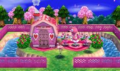 Flora's pink theme house. Animal Crossing Happy Home Designer