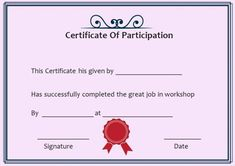Certificate Of Participation In Workshop Template  Certificate Of