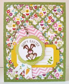 Happy Easter card by Kathy Martin. Punch all over the page inspirations