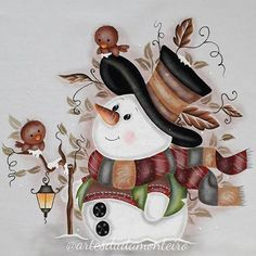 Christmas Paintings, Christmas Art, Vintage Christmas, Christmas Ornaments, Handmade Christmas, Frosty The Snowmen, Cute Snowman, Snowman Crafts, Tole Painting