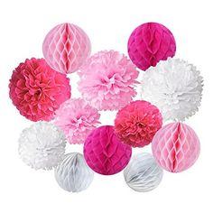 Papier de soie pompons et Papier de Soie Boule Alvéolé pour fête d'anniversaire de mariage Baby Shower de douche Décorations de festival - Rose, Foncé Rose et Blanc