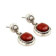 Auburn Stone Silver Edge Dangle Drop Earrings
