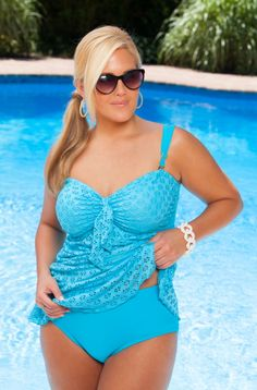 Women's Plus Size Swimwear - Always For Me Chic Eyelet Twist Bandeau Tankini