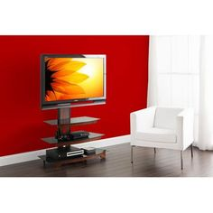 """Whalen 3-Tier Cherry Brown Flat Panel TV Stand for TVs up to 47"""" - Walmart.com"""
