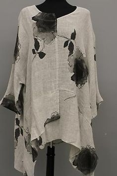 TRANSPARENTE DESIGNS GERMANY LAGENLOOK ARTSY LINEN POCKET TUNIC ROSE NATURAL$325