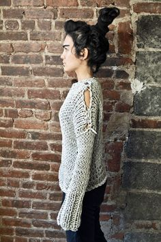 Jersey cotton irregular knit unisex sweater. Soft, bouncy, medium weight. Hand knitted. Fully reversible, front and back, inside and out.  Comes in 6 different colors:  Grey, Safari Green, Forest Green, True Blood Red, Chocolate and Lipstick Red.