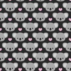 Koala Fabric - Kawaii Koalas And Pink Hearts By Petitspixels - Baby Nursery Animal Koala Cotton Fabric By The Yard With Spoonflower Cute Backgrounds, Cute Wallpapers, Wallpaper Backgrounds, Iphone Wallpaper, Cute Wallpaper For Phone, Cool Wallpaper, Pattern Wallpaper, Kawaii, Animal Nursery