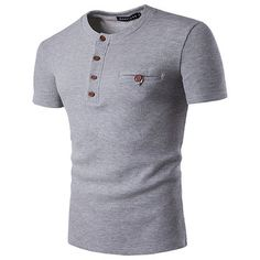 Mens Round Neck Buttons Breathable Cotton Blend T-shirt Short Sleeve Spring Summer Casual Tops