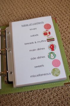 How to put together a family favorites recipe book...this would be really good for meal planning! The categories are defined by the little circle of scrapbook paper then the page has a little strip of that paper on the edge so it's easier to put it back in the right category. Everything's inside page protectors, too. Someday when I have more time, I'm going to have to do this.