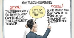 Obama would rather put the U.S. on the Brink of war with Russia than accept responsibility for their election loss. Cartoon by A.F. Branco ©2017