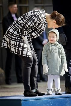 MYROYALS & HOLLYWOOD: Crown Princess Victoria celebrated her name day at the Royal palace square in Stockholm with her family, March 12, 2014-Crown Princess Victoria and Princess Estelle