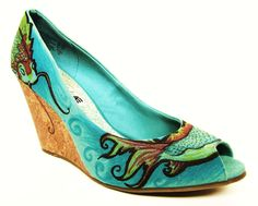 Hand Painted Shoes- Koi Fish- Beach Wedding Shoes- Something Blue- Fine Design