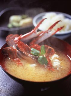 miso soup-Ohh my goodness, with crab or lobster is so........mmmm!