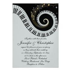 Music recital invitation card recital ideas pinterest piano keys and golden musical notes wedding custom invites thecheapjerseys Images