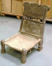 Indian carved low piddi chair. Antique -URGENT SALE