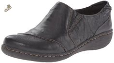 Clarks Women's Fianna Carlie Flat, Black Leather, 6 M US - Clarks flats for women (*Amazon Partner-Link)