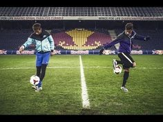 Neymar Jr., forward at FC Barcelona, takes on 15-year-old Hachim Mastour, from AC Milan, in a spectacular challenge. The Brazilian superstar took a short break from his football duties to go one-on-one with the world's most promising football talents.