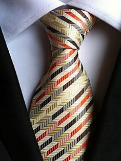 Men Wedding Cocktail Necktie At Work Beige Red Colors Tie – USD $ 4.99