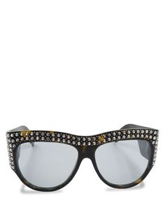 48c3f4fd937cd Gucci Tortoise Acetate Crystal GG0144S Hollywood Forever Oversized  Sunglasses
