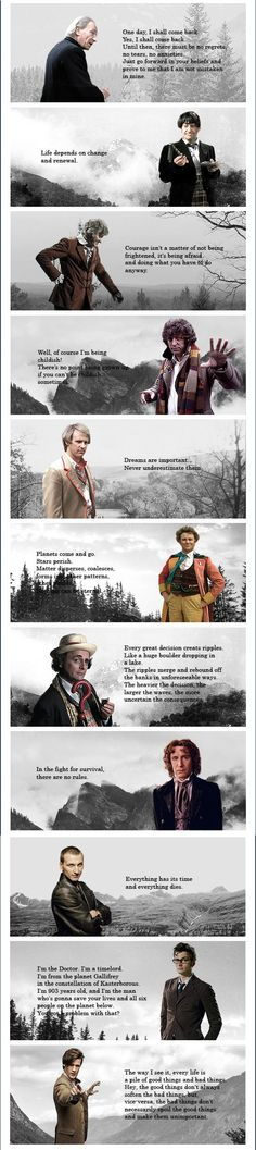 really glad the 5th Doctor one isn't the annoying, constantly rehashed one. I feel like the 6th Doctor one could be a better quote, but I don't know what I'd choose instead. 11's quote is the best one, but 1's gave me the most feels.