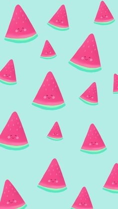 Free Phone Wallpaper by Nutmeg and Arlo, cute kawaii watermelon pattern.