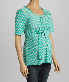 This Three Seasons Mint & Khaki Ikat Maternity Scoop Neck Top - Women is perfect! #zulilyfinds