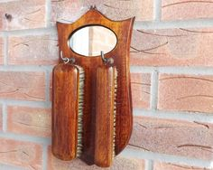 Entryway #Mirror with Hooks, Small #Oak Mirror with Hat and Clothes Brush, #Edwardian Hanging Wall Mirror, Hall Bedroom Bathroom, Vintage Home by CuriosAnCollectibles on Etsy