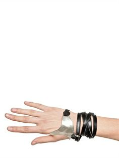 Y.PROJECT - SILVER & LEATHER HAND BRACELET - LUISAVIAROMA - LUXURY SHOPPING WORLDWIDE SHIPPING - FLORENCE
