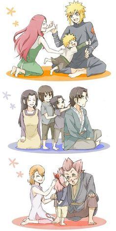 NARUTO SHIPPUDEN, Uzumaki Kushina, Namikaze Minato, Naruto; Uchiha Fugaku, Mikoto, Itachi, Sasuke; Haruno Kizashi, Mebuki, Sakura