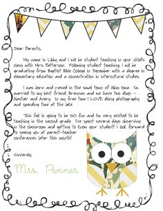 Meet the Teacher letter - from a STUDENT teacher! cutest parent letter ever. Meet the Teacher letter - from a STUDENT teacher! cutest parent letter ever. Parent Letters From Teachers, Teacher Welcome Letters, Letter To Students, Meet The Teacher Template, Letter To Teacher, Letter To Parents, Teaching Letters, Student Teacher, Parents As Teachers