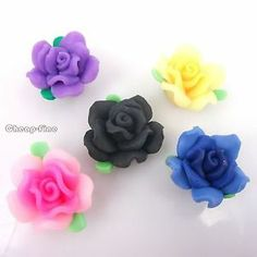 25pcs Art Mixed Color Polymer Clay Flower Round Spacer Beads Findings 23mm | eBay