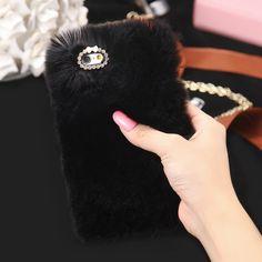 New Winter Real Rabbit Fur Case For iPhone 6 Fashion Luxury Cute Cartoon Hair Bling Diamond Cover For iPhone 6 Plus Plus Iphone 5s, Iphone 7 Plus, Apple Iphone 5, Coque Iphone, Iphone Phone Cases, Phone Covers, Fluffy Phone Cases, Cute Phone Cases, 7 Plus Black