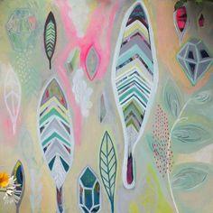 Plumas y gemas originales Neon acrílico Pastel pintura sobre lienzo