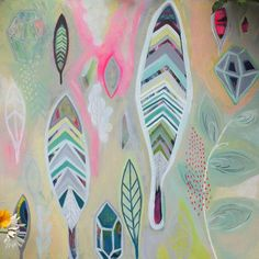 Feathers and Gems Original Acrylic Pastel Neon Painting on Canvas by Rachael Rice #bloomtrue