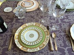 China: Royal Crown Derby Derby Panel Green Dinner, Phillippe Deshouliers Arcades Green Salad and Bernardaud Constance Bread and Butter. Crystal: St.Louis Amadeus  Flatware: Towle Amelia.