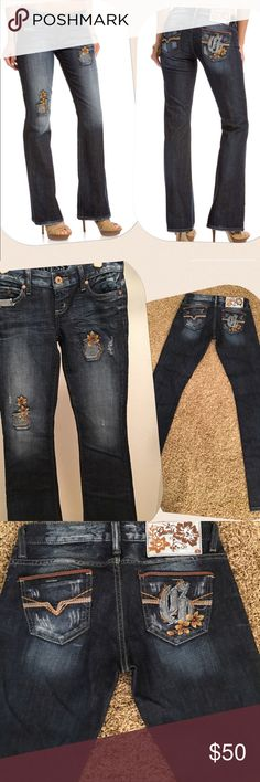 Guess Bootcut denim Guess denim with distressed look and patches in front 🌺Great condition Guess Jeans Boot Cut