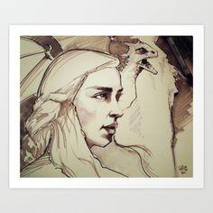 Mother of Dragons Art Print by Luis Dourado - $25.46