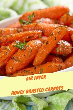 Air Fryer-Honey Roasted Carrots Note: Affiliate links are included in this post This might be my son's favorite way that I have ever made carrots. And you know what, they were so easy, he might be eating them weekly. Air Fryer Recipes Vegetables, Air Fryer Recipes Low Carb, Air Fryer Recipes Breakfast, Air Fryer Dinner Recipes, Healthy Dinner Recipes, Healthy Dinners, Easy Recipes, Weeknight Meals, Airfryer Breakfast Recipes