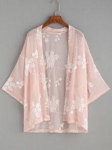 Shop Floral Print Self Tie Longline Kimono online. SheIn offers Floral Print Self Tie Longline Kimono & more to fit your fashionable needs. Kimono Floral, Chiffon Kimono, Chiffon Tops, Floral Chiffon, Cardigan Kimono, Kimono Jacket, Kimono Style, Kimono Fashion, Fashion Clothes