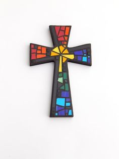 Mosaic Wall Cross, Black with Rainbow Glass, x Handmade Stained Glass Mosaic Design by GreenBananaMosaicCo Mosaic Crosses, Wooden Crosses, Wall Crosses, Mosaic Artwork, Mosaic Wall, Mosaic Glass, Mosaic Designs, Mosaic Patterns, Mosaic Company