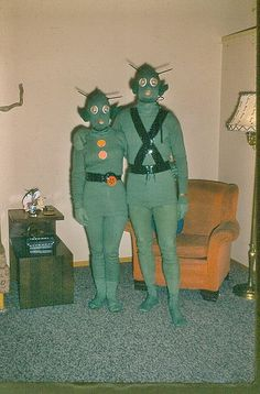 vintage Halloween photo costume costumes space aliens alien couple retro weird bizarre creepy