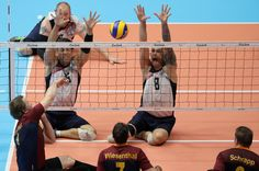 Alexander Schiffler (L) of Germany in action during the Sitting Volleyball mach between USA and Germany on day 4 of the Rio 2016 Paralympic Games at the Riocentro Pavilion 6 on September 11, 2016 in Rio de Janeiro, Brazil.